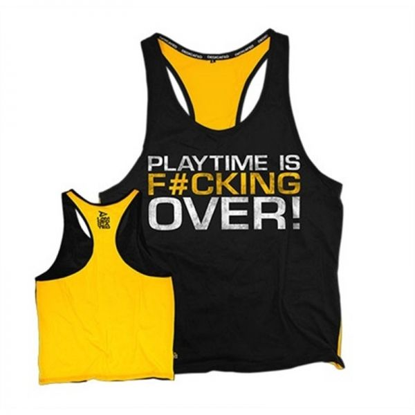 "STRINGER - CAMISETA DE TIRANTES ABIERTA - ""PLAYTIME IS F*CKING OVER"""